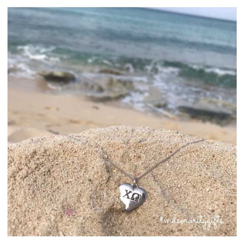 Chi Omega Heart Necklace