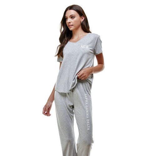 Alpha Gamma Delta Pajama Set Greek Letters with Sorority name down the leg