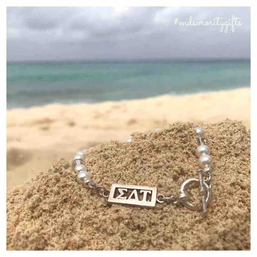 Sigma Delta Tau Bracelet with pearls