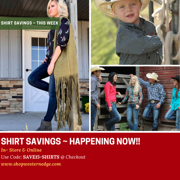 Big Savings Happening Now, on ALL SHIRTS!