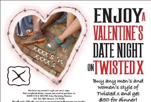 Let Twisted X buy your Valentines Day Dinner