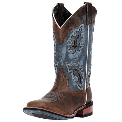 Laredo Women's Brown and Denim Blue Square Toe Boots
