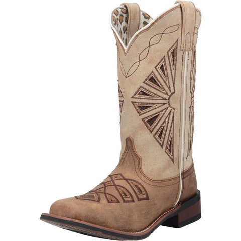 Women's Brown and White Square Toe Boot