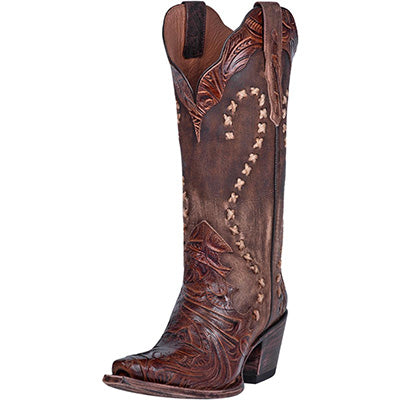 Dan Post Women's Brown Tooled Snip Toe Boots