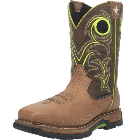 Men's Brown and Lime Waterproof Square Toe Boot