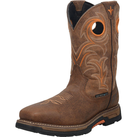Men's Brown and Orange Waterproof Square Toe Boot