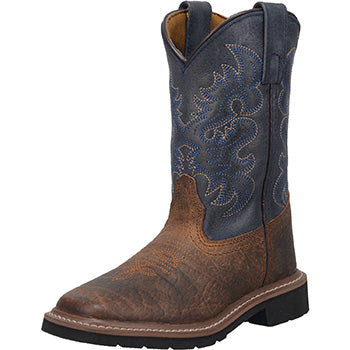 Dan Post Kid's Rust and Blue Square Toe Boots