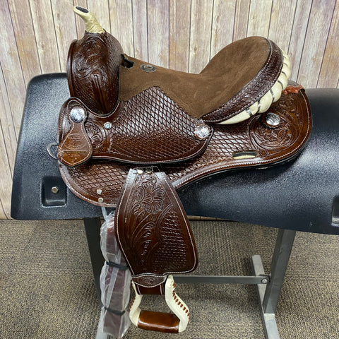 Shiloh Youth Saddle with Basketweave Background and Brown Felt Seat, 12 Inch Seat