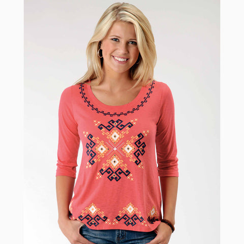 Karman Women's Red and Blue Aztec 3/4 Sleeve