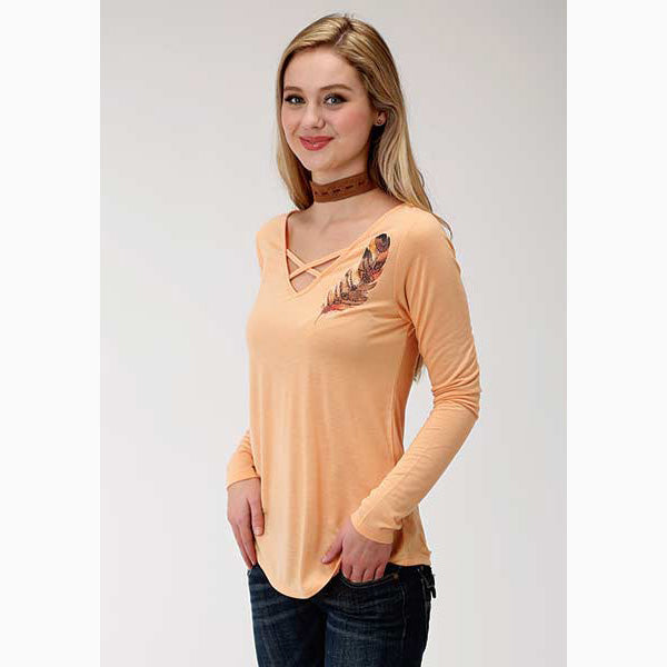 Roper Women's Peach Feather Long Sleeve Tee