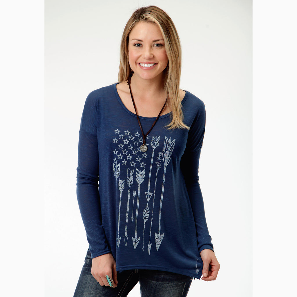 Karman Women's Blue Arrow Long Sleeve Shirt