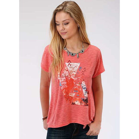 Karman Roper Coral Corral Aztec Loose Scoop Neck Tee