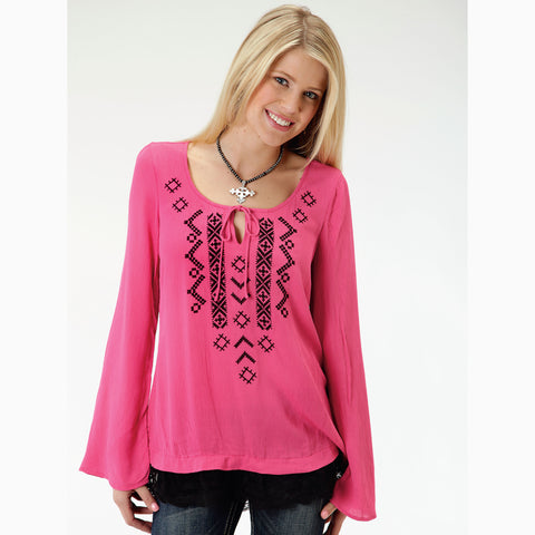 Karman Women's Pink and Black Aztec Long Sleeve Shirt