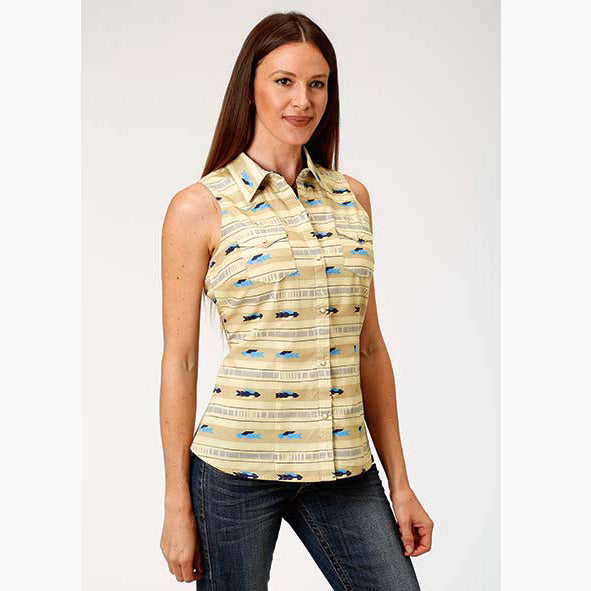 Roper Women's Yellow and Blue Aztec Sleeveless Button Up Tank