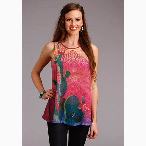 Roper Women's Red Sheer Cactus Tank