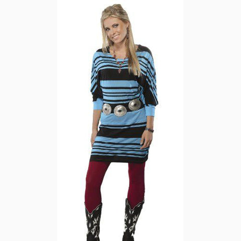 Cruel Girl Turquoise and Black Stripe Dress