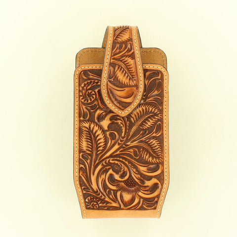 Tan Leather Tooled Phone Case