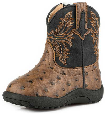 Roper Infant Black and Brown Ostrich  Boots