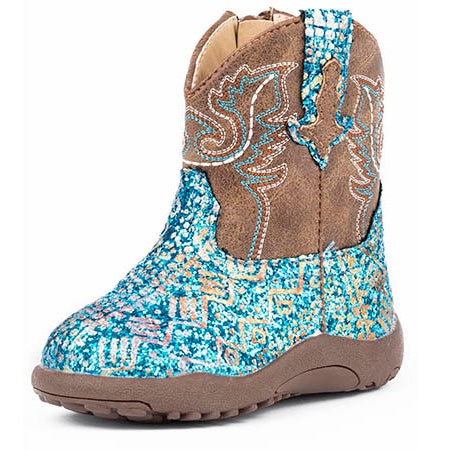Roper Infant Blue South West Glitter Boots