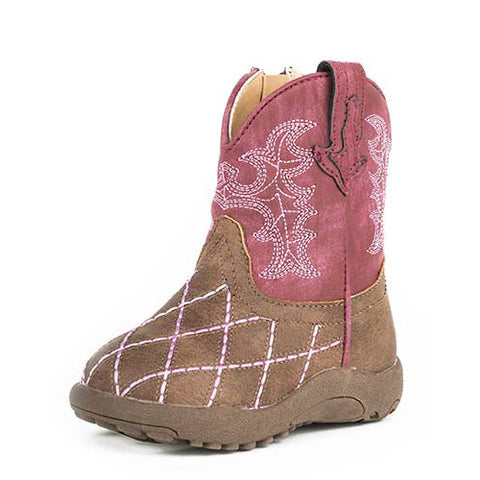 Roper Infant Brown and Raspberry Diamond Print Boot
