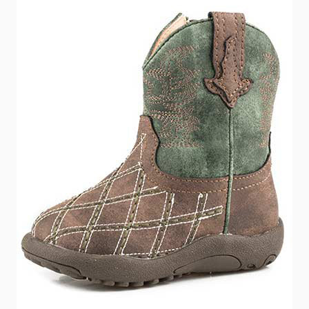 Roper Infant Green and Brown Criss Cross Boot