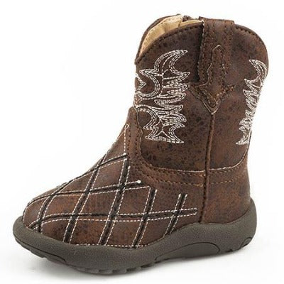 Roper Infant Brown Diamond Stitched Boots