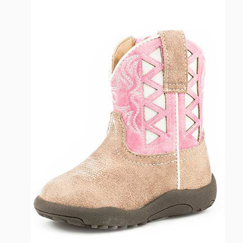 Roper Infant Tan, Pink, and White Triangle Boot