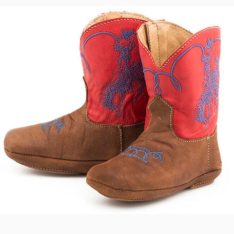 Roper Infant Brown and Red Buckaroo Square Toe Boot