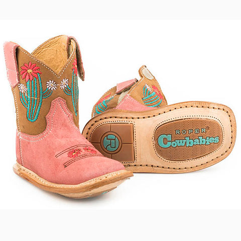 Roper Infant Pink and Brown Cactus Boots