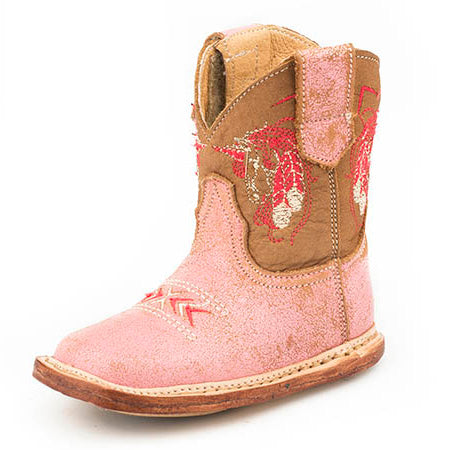 Roper Infant Vintage Pink Horse and Feather Boot