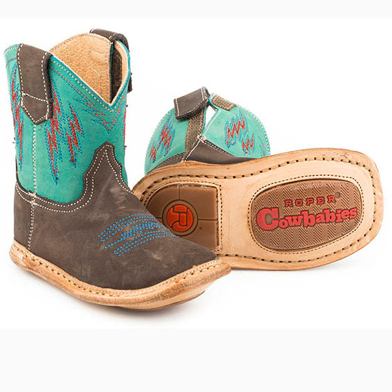 Roper Infant Chocolate and Green Lightening Boot