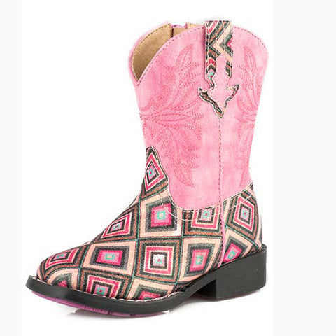 Roper Toddler Pink Glitter Diamond Square Toe Boot