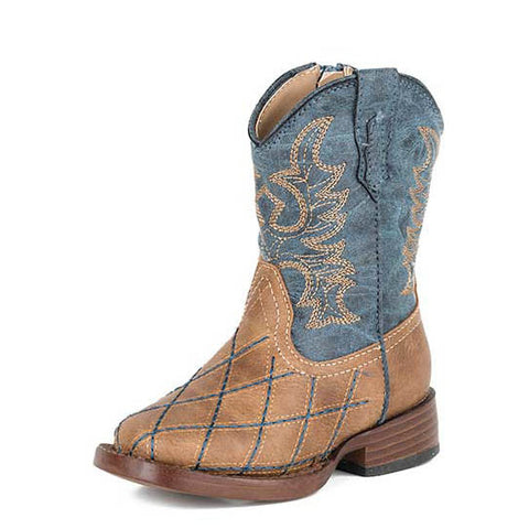 Roper Tan and Navy Patchwork Square Toe Boots