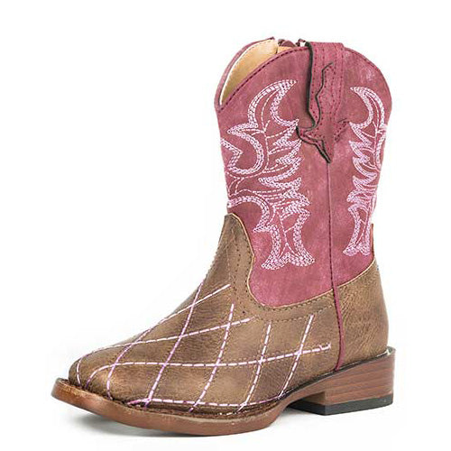 b9baccb7c13 Roper Toddler Girl's Brown and Raspberry Diamond Stitch Square Toe Boot