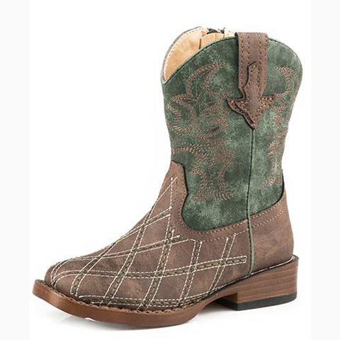 Karman Roper Kid's Brown and Green Criss Cross Square Toe Boot