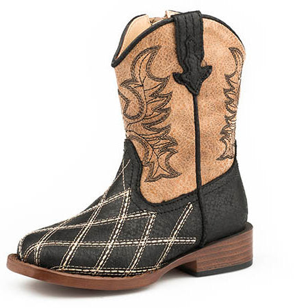 Roper Toddler Black and Tan Square Toe Boot
