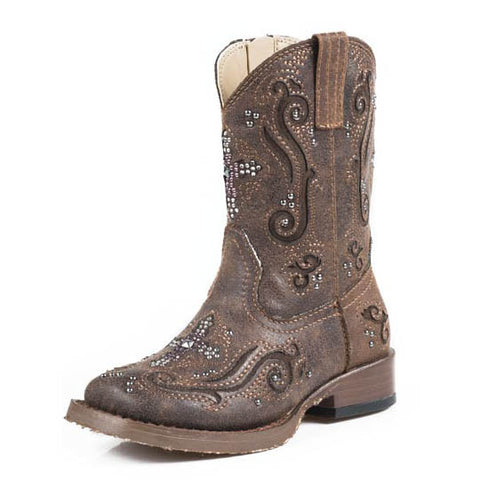 Kids Roper Brown Crystal Cross Square Toe Boots