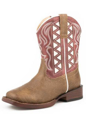 Roper Toddler Brown, Red and White Cut Out Square Toe Boots