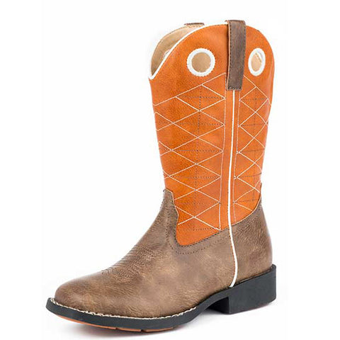 Roper Kid's Orange and Brown Criss Cross Square Toe Boot (Size 9-13)