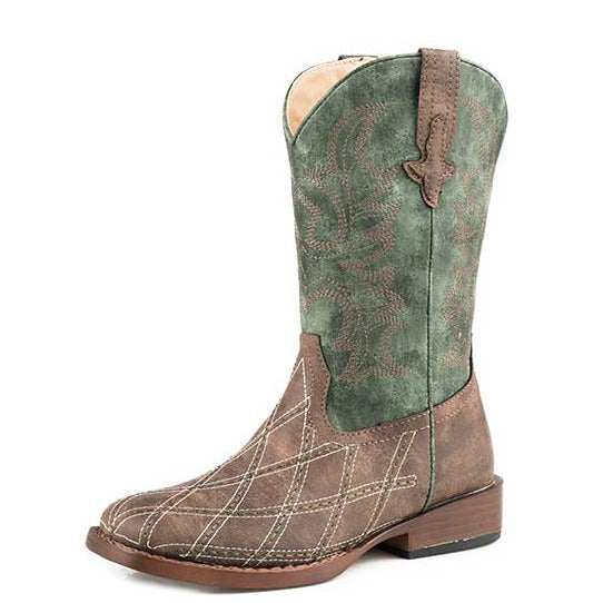 Roper Little Kids Brown and Green Cross Cut Diamond Square Toe Boots
