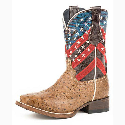 ded61d1c783 Roper Little Kid's American Flag Ostrich Square Toe Boot