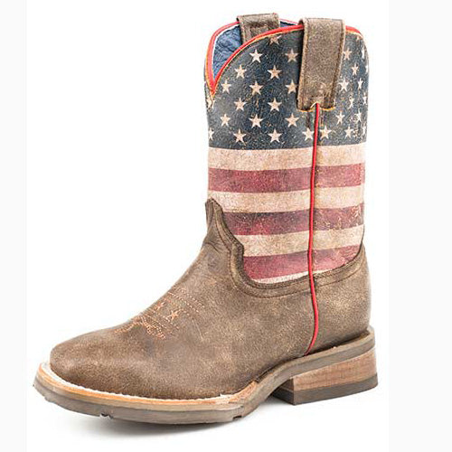 Roper Kid's Brown Distressed Flag Square Toe Boot
