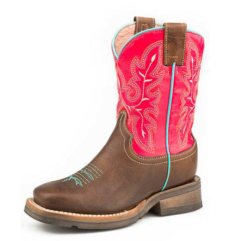 Roper Kid's Brown and Hot Pink Square Toe Boot