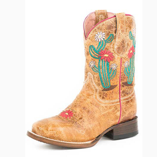 Roper Little Kid's Tan Cactus Square Toe Boot
