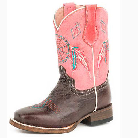 Roper Kid's Brown and Pink Dream Catcher Square Toe Boot