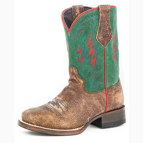 Roper Kid's Tan and Turquoise Thunder Square Toe Boot