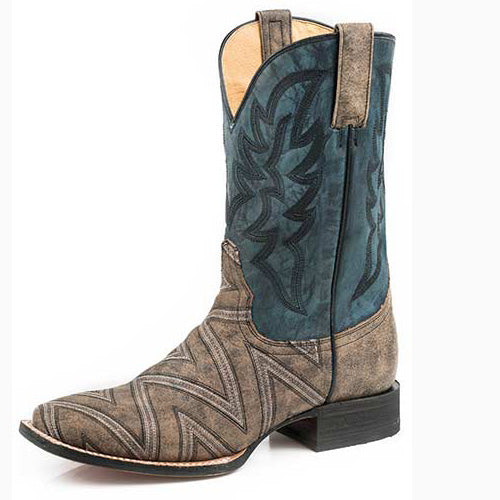 Roper Men's Brown and Blue Zig Zag Square Toe Boot
