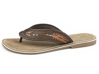 Women's Brown Painted Arrow Sandal