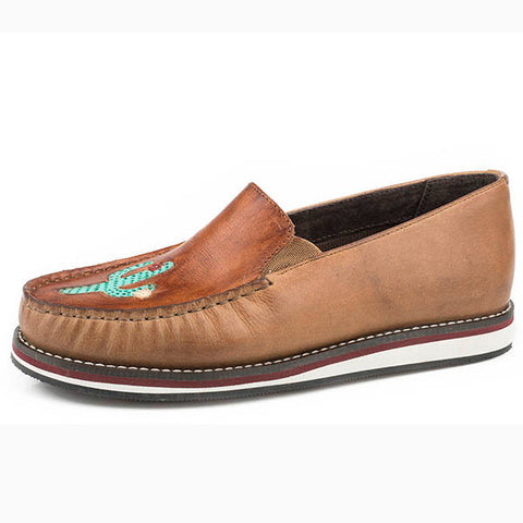 Roper Women's Tan Leather Cactus Slip On Moc