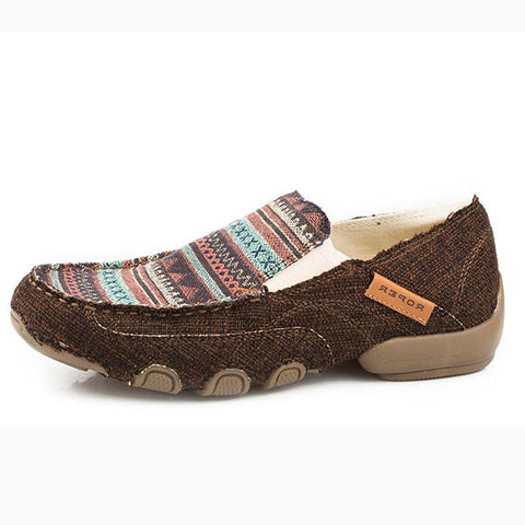 Roper Women's Brown Southwest Stripe Moc